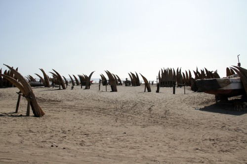Caballitos de tortora on the beach at Playa Pimentel, Peru
