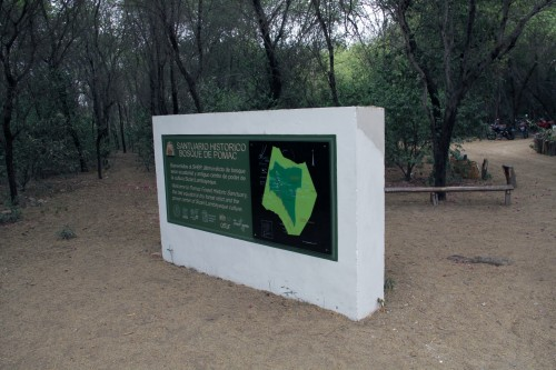 welcome sign at the Bosque de Pómac