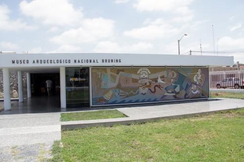 wall mosaic and entrance to El Museo Brüning